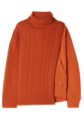 Sacai - Layered Wool And French Cotton-terry Turtleneck Sweater - Orange