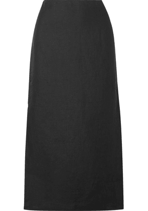 Theory - Linen And Cotton-blend Midi Skirt - Black