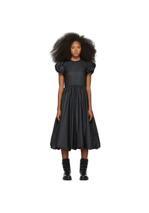 Noir Kei Ninomiya Black Taffeta Gathered Sleeve Dress