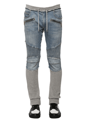 15cm Denim & Jersey Biker Sweatpants