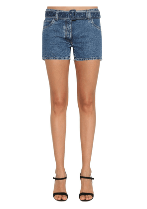 Logo Print Belted Cotton Denim Shorts