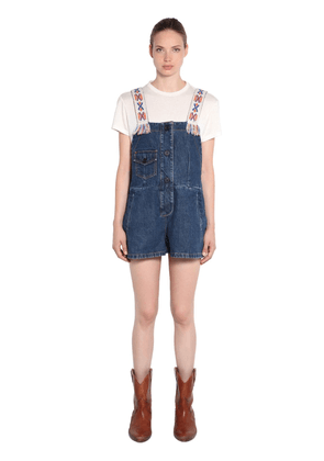 Embroidered Strap Cotton Denim Jumpsuit