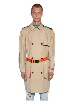 Hooded Nylon Double Breasted Trench Coat