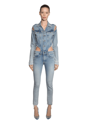 Skinny Cutout Cotton Denim Overalls