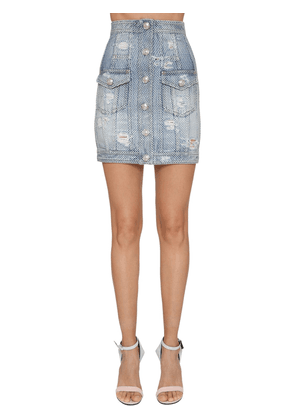 Destroyed Denim Mini Skirt W/ Crystals