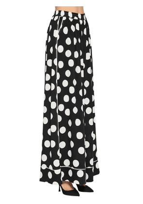 Polka Dot Print Charmeuse Pants
