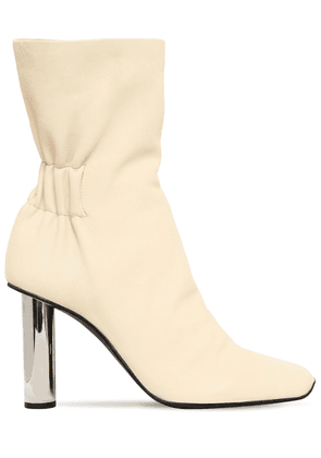 100mm Leather Ankle Boots W/ Metal Heel