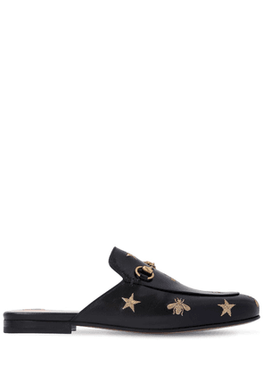 10mm Princetown Embroidered Leather Mule