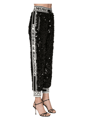 Sequined Pants W/ Logo Bands