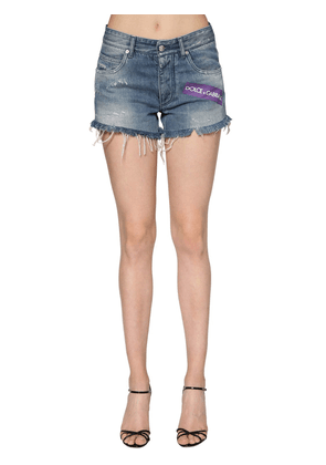 Logo Printed Cotton Denim Shorts