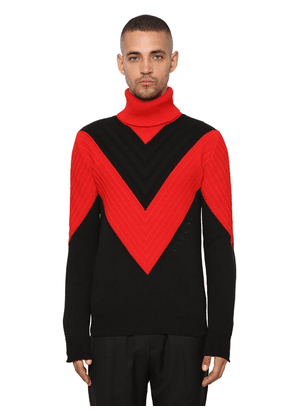 Color Block Cotton Turtleneck