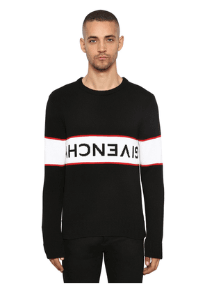 Logo Intarsia Crewneck Cotton Sweater