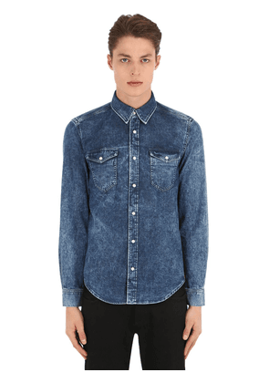 Washed Denim Shirt W/ Logo