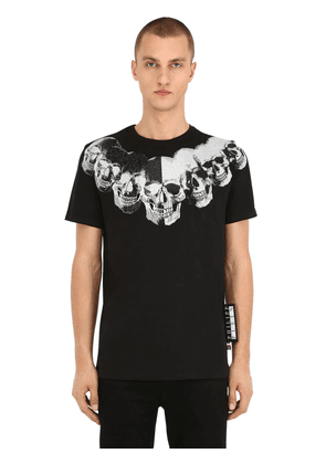 Print & Embellished Skull Cotton T-shirt
