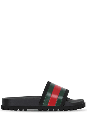 Web Striped Rubber Slide Sandals