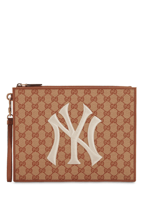 New York Gg Supreme Logo Canvas Pouch