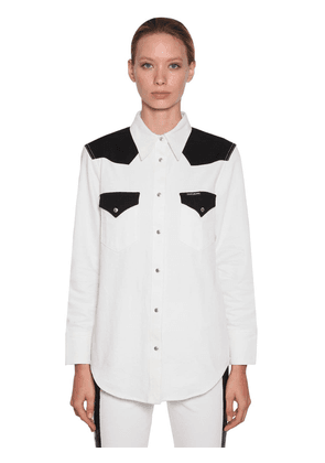 Bicolor Cotton Denim Western Shirt