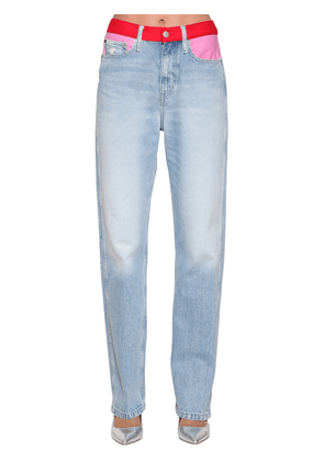 Straight Mid Rise Cotton Denim Jeans