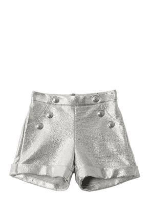 Laminated Cotton Sweat Shorts W/ Buttons