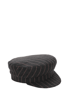 Striped Linen Captain's Hat
