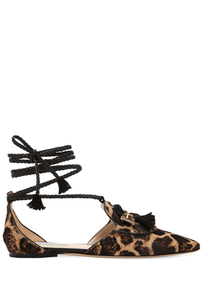 10mm Animalier Lace-up Leather Flats