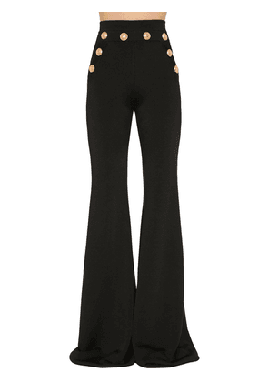 High Waist Flared Viscose Knit Pants