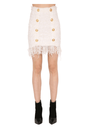Fringed Tweed Mini Skirt