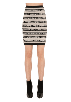 Striped Logo Intarsia  Knit Skirt