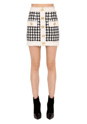 Fringed Houndstooth Mini Skirt
