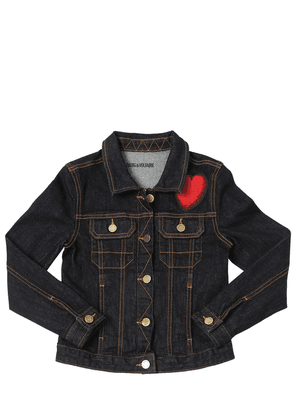 Cotton Denim Jacket W/ Heart Patch
