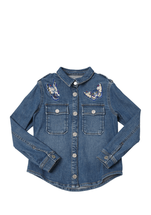 Cotton Denim Jacket W/ Butterflies