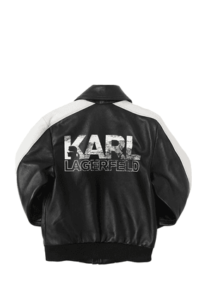 Logo Print Leather Bomber Jacket