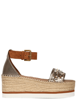 80mm Glyn Sequins & Leather Wedges