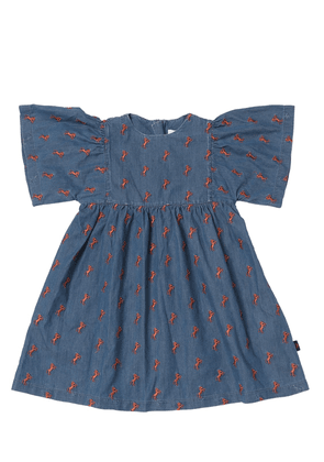 Embroidered Horses Chambray Dress