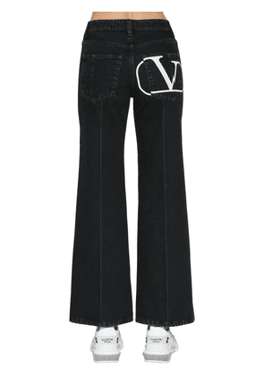 V Logo Print Cotton Denim  Jeans