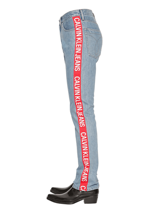 Straight Leg Logo Tape Denim Jeans