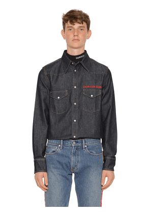 Logo Embroidered Western Denim Shirt