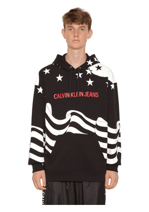 Star Printed Cotton Sweatshirt Hoodie