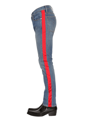 Slim Fit Cotton Denim Trousers W/ Tape