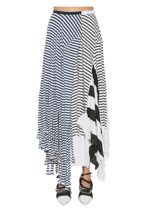 Striped Cotton Blend Jersey Skirt
