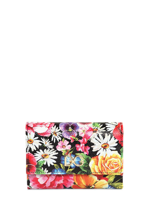 Compact Flower Print Leather Wallet