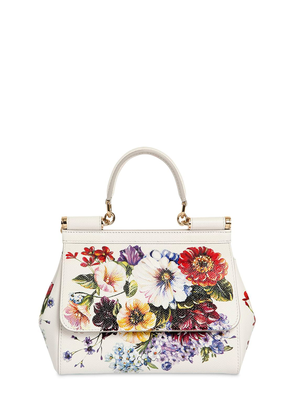Small Sicily Floral Print Leather Bag