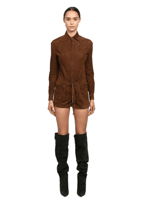 Long Sleeve Suede Romper