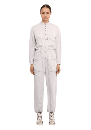 Long Sleeve Washed Linen Jumpsuit