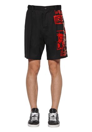 Printed Stretch Wool Boxer Shorts