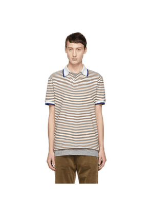 Band of Outsiders White & Beige Stripe Polo