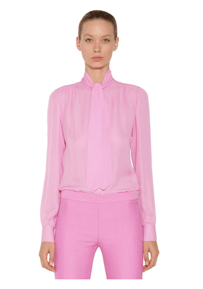 Self-tie Silk Crepe Shirt