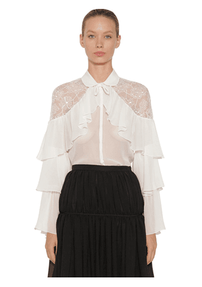 Ruffled Silk Lace & Crepe Shirt