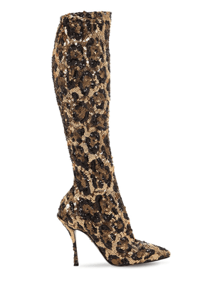 105mm Leopard Sequined Knee High Boots