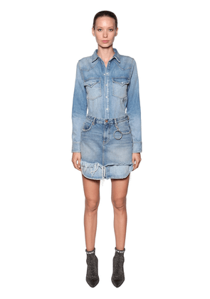 Cotton Denim Dress W/ Detachable Skirt